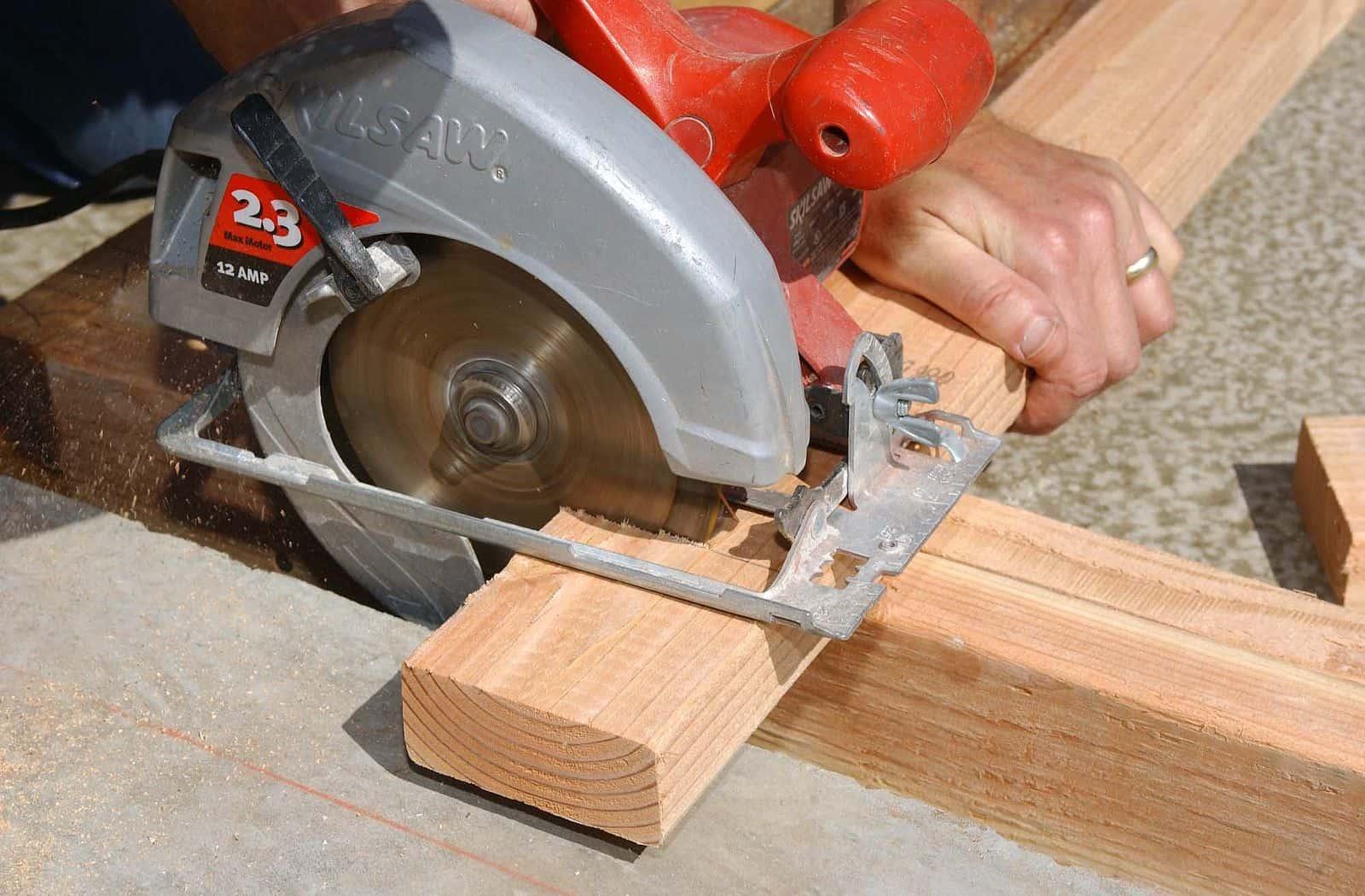 A hand-held circular saw