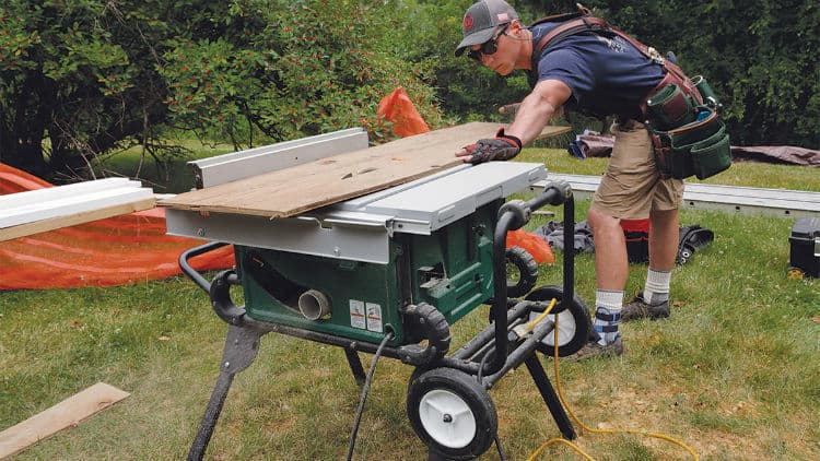 portable table saw in use