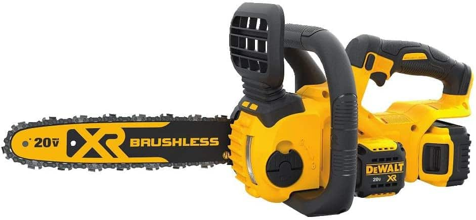 DEWALT 20V MAX XR Chainsaw Kit, 5-Ah Battery, 12-Inch on a white backgroung